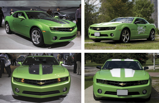 A comparison of our Camaro and the new Synergy Green Camaro from GM