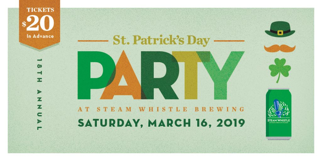 st. patrick's day party at steam whistle brewing