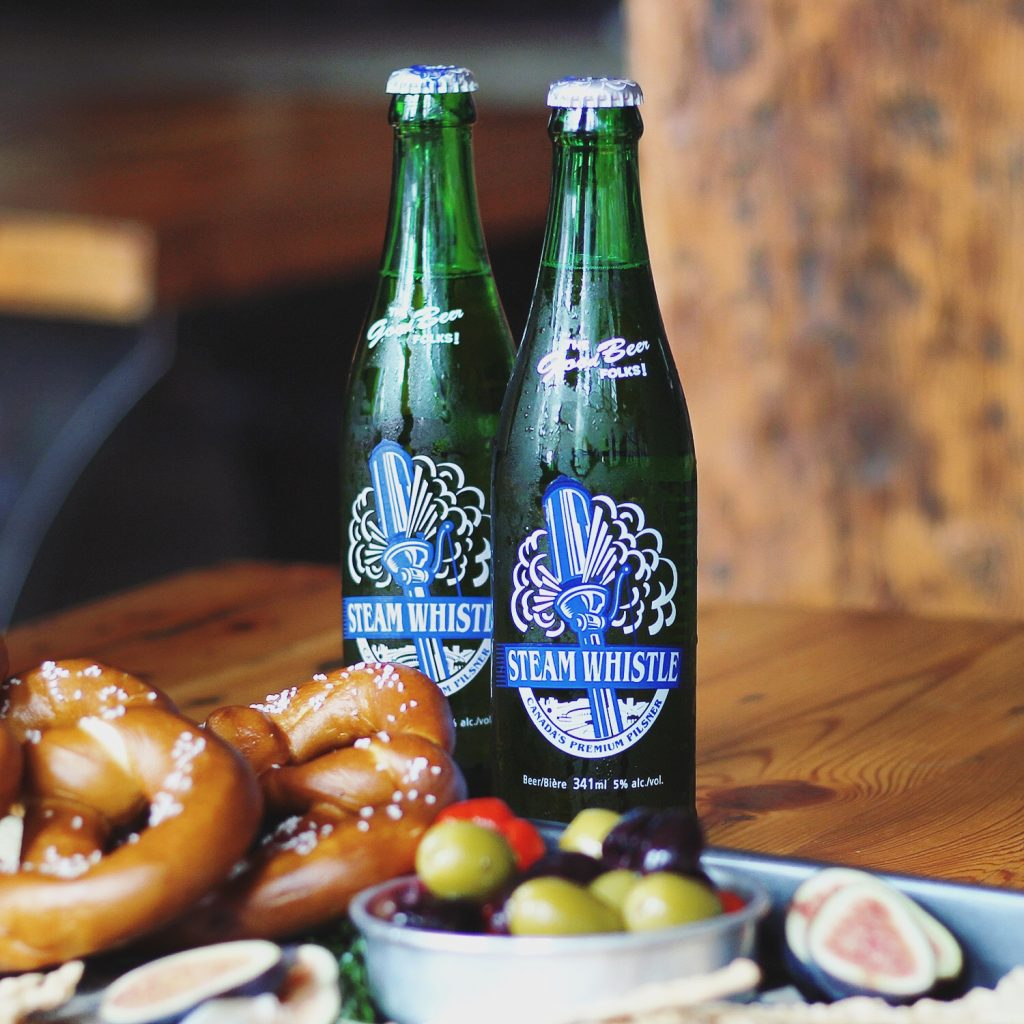 steam whistle bottles and pretzels