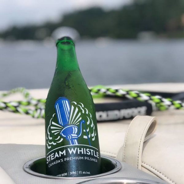 steam whistle bottle on a boat